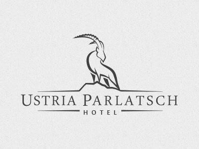 Hotel Ustria Parlatsch animal alpha male brand identity visual identity male goat branding hotel logo ram billy buck ibex