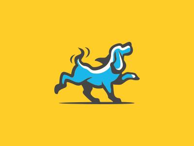 Dog mark logo leash petcare animal pet puppy happy playful dog