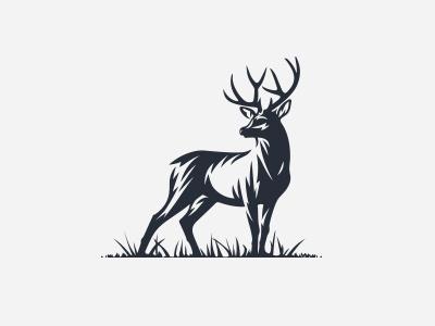 Deer mark logo forest hunting deer buck brown bow antlers animal