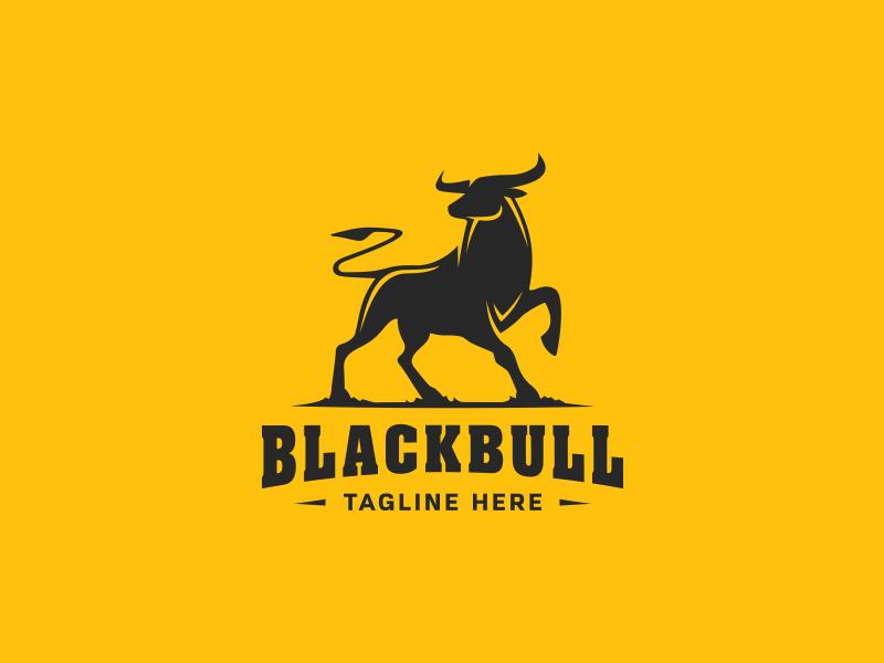 Black Bull logo black mark bull animal toro horns bullfight gym crossfit fitness logo body building