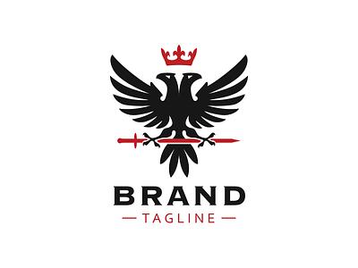 Eagle heraldic logo sword mark logo heraldic heraldry crown royal bird classic hawk falcon eagle