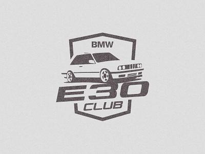 BMW E30 Club logo sport racecar auto car illustration mark logo club e30 bmw