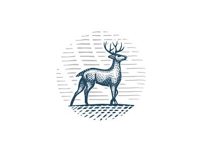 Deer logo animal woodcut engraving buck deer elk scratchboard elegant hunting logo luxurious wildlife