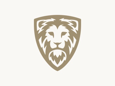 Lion shield logo mark logo security shield animal head force power strength lion
