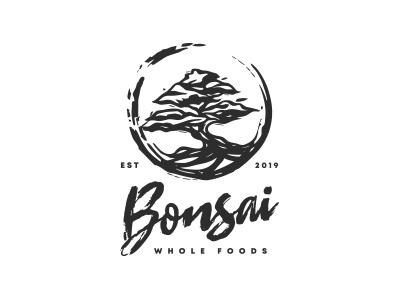 Bonsai tree logo classic organic whole foods wholefood food plant tree logo bonsai tree mark logo