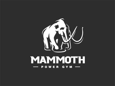 Mammoth logo power strength clothing gym sports elephant mammoth negative space animal mark logo