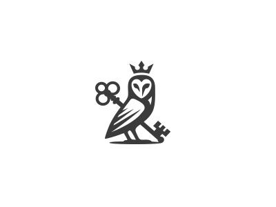 Owl logo owl key crown royal luxury luxurious bird logo mark minimal knowledge wisdom