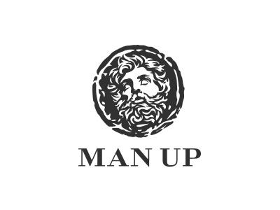 Portrait logo portrait grooming masculinity masculine manly man coin head face mark logo beard
