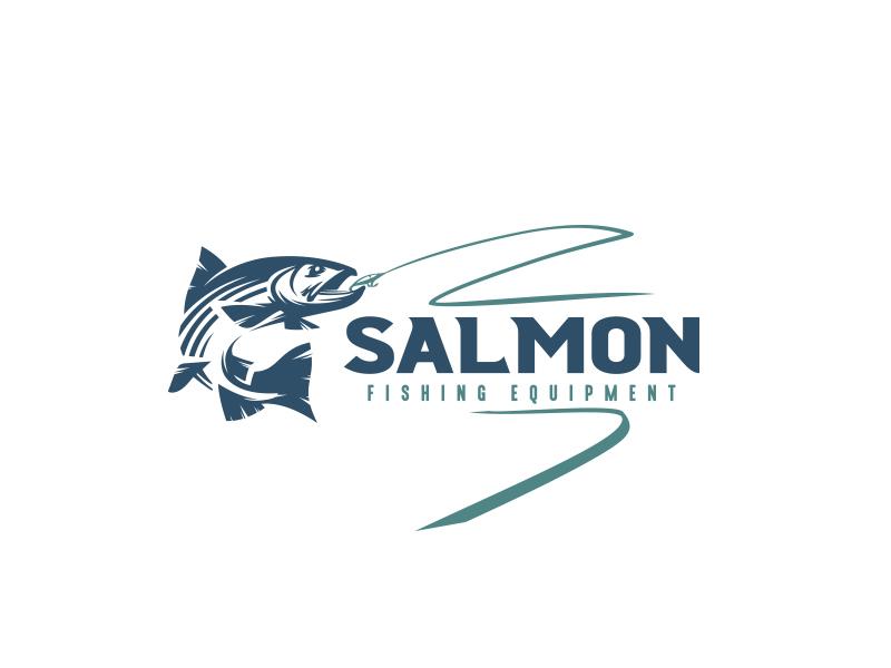 Fishing logo trout salmon sport fishing pole fishing rod equipment fish logo mark logo fishing fish