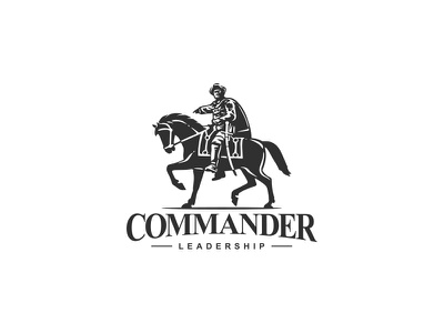 Commander logo mark negative space leadership power strength illustraion leader general horse rider logo commander