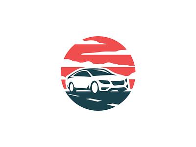 Rent a Car logo negative space vector classic transport rent a car minimal mark logo road auto cars car
