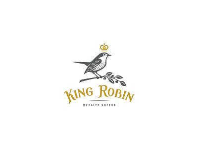 Robin logo freedom classic animal branch royal crown illustration coffee robin bird mark logo