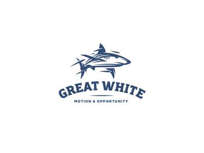 Shark logo defiance negative space ocean sailing explore opportunity motion great white shark pilot fish mark logo