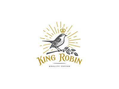Robin logo simple classic illustraion freedom crown branch coffee robin royal bird mark logo
