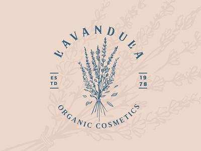 Lavander logo design lavender illustration pastel colors vintage herbs plants mark logo cosmetics beauty resort spa
