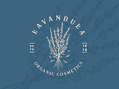Lavender cosmetics pastel colors resort space beauty branding illustration cosmetics herbs plants mark logo lavender