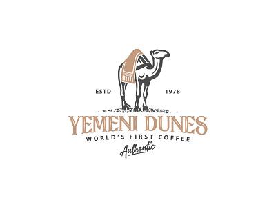 Camel logo negative space mark arabic logo branding food tea desert arab rug coffee dromedary camel