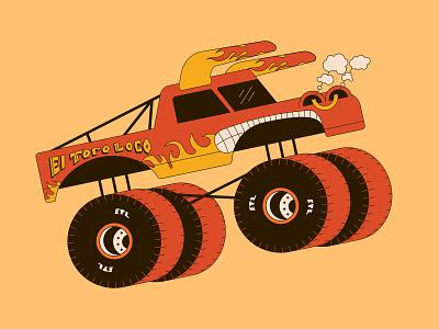 El Toro Loco vector illustration monster big truck truck digital illustration illustration art illustrator vector art vector monster truck vector illustration monster jam el toro loco monster truck