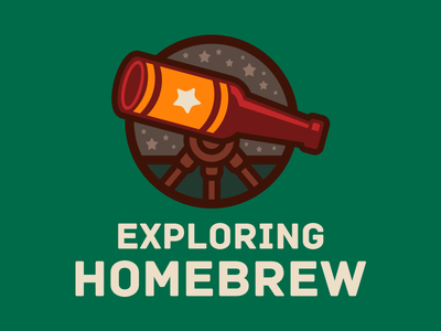 Exploring Homebrew fundraiser home brewing homebrew branding identity icon beer bottle beer telescope logo