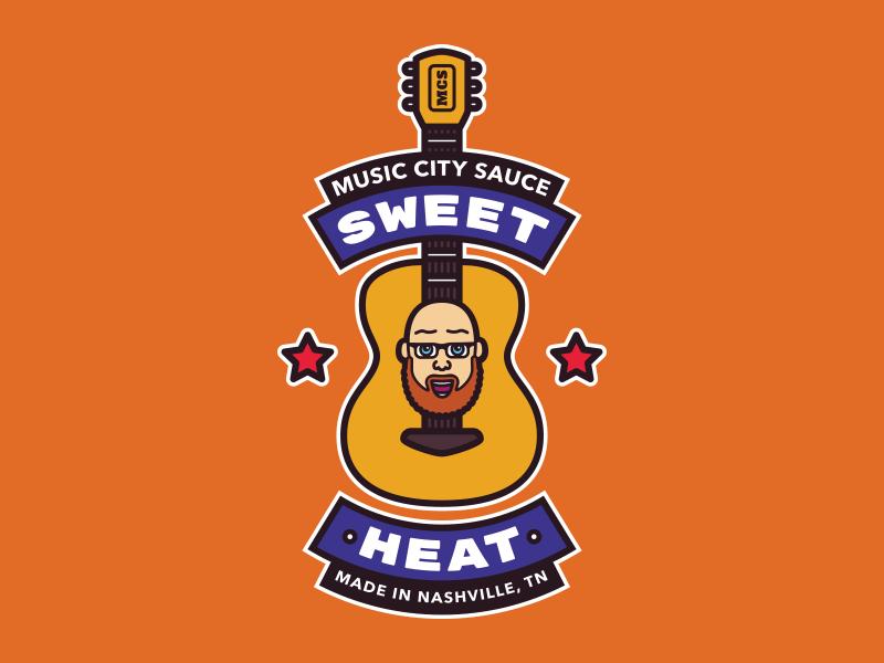 Music City Sauce guitar icon branding mark hot sauce nashville music city logo