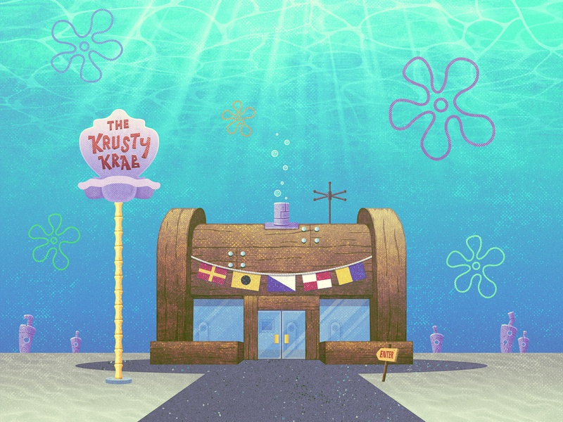 Just remember, P.O.O.P.! 🍔 burger grit texture illustration vector bikini bottom krusty krab cartoon spongebob
