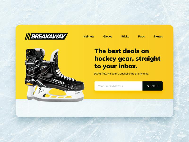 Daily UI :: 003 :: Landing Page email sign up marketing landing page web ux design uiux subtle gradient ice hockey ice practice hockey web design landing page uipractice ui pack daily ui dailyui 003 dailyui