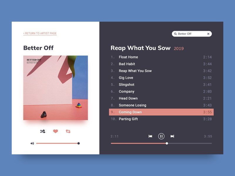 Daily UI :: 009 :: Music Player uidesign ui ux uiux dailyui 009 dailyui music player ui music app music player album artwork album art album better off music
