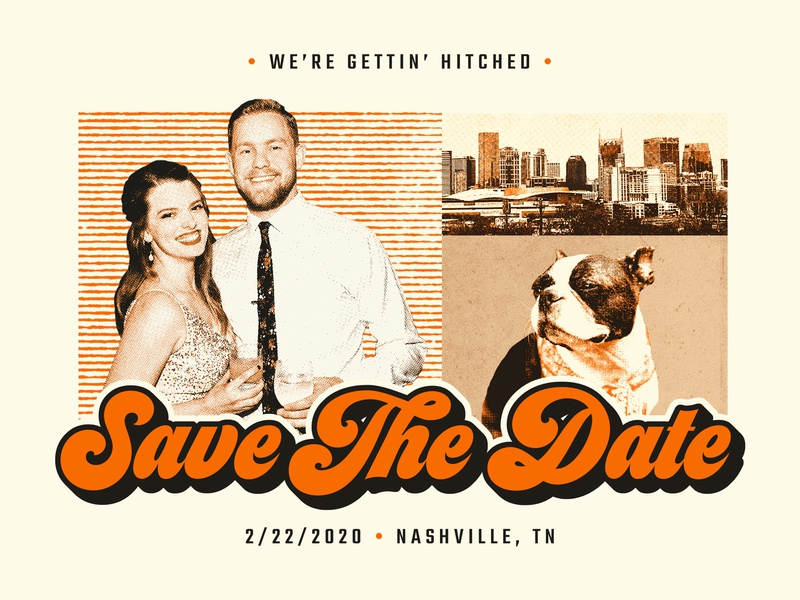 Save The Date postcard design invite wedding texture halftone grit retro boston terrier nashville postcard save the date