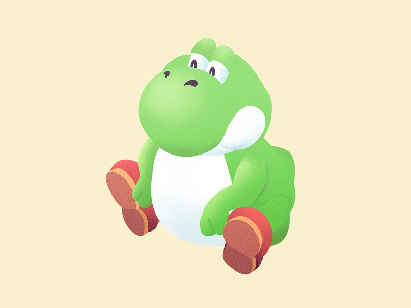 BEEG Yoshi character grain illustration vector illustration vector texture video game art videogames mario dunkey yoshi