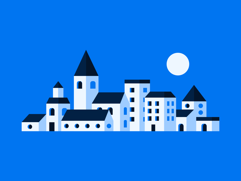 Small Town illustration vector illustration small town city town blue minimal vector abstract abstract city