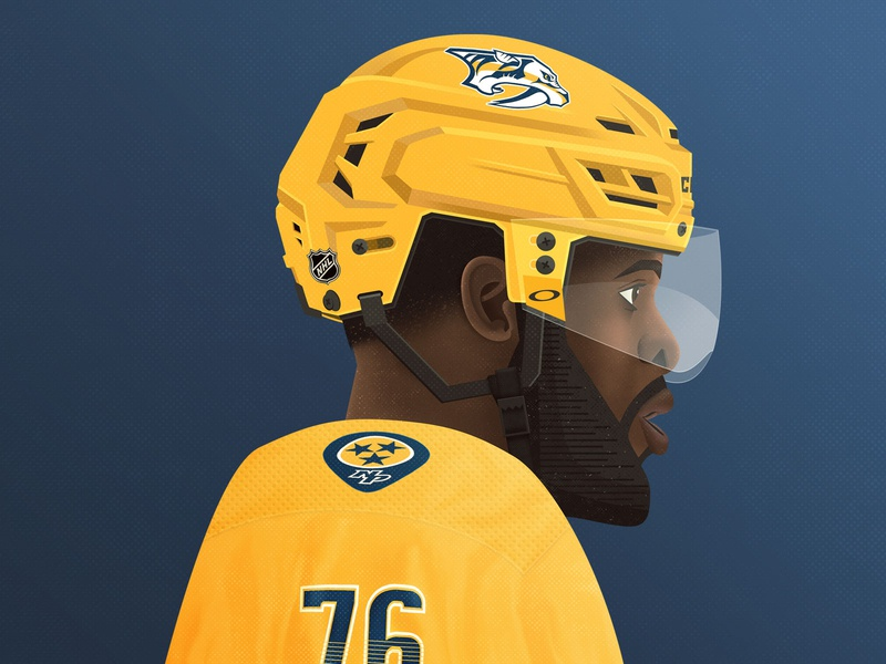 PK adobe illustrator adobe photoshop illustrator illustree hockey player hockey portrait person illustration art grit texture illustration nashville nashville predators