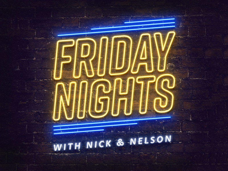 Friday Nights With Nick & Nelson logo podcast logo podcasts album art branding and identity typography neon sign neon light neon design branding podcast art podcasting podcast