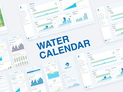 Eastwater : Water Calendar app ux ui mobile calendar dashboard data data analysis data visualization water branding