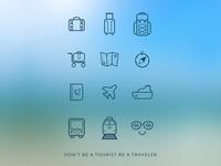 Travel icons set [Freebie]
