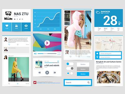 Freebie PSD : Flat Ui ui kit simple flat ui free psd kit mock mobile os blue