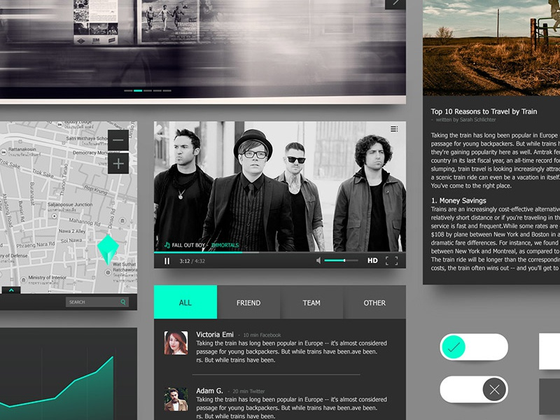 [Freebie] Black & Turquoise Ui Kit turquoise black ui kit set free app website rock flat clean green