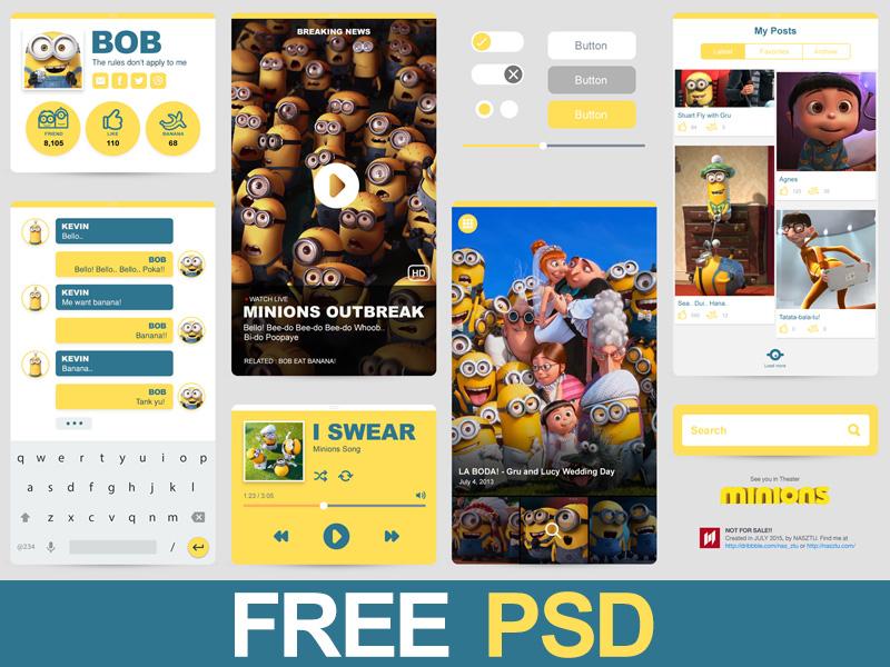 Freebie PSD : Minions Ui free movies flat app mobile despicable yellow ui kit freebie minions