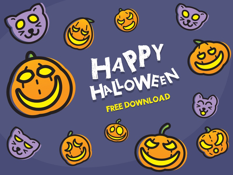 [ FREE ] Halloween Pumpkin and Cat illus vector free halloween icons black kitty cat pumpkin