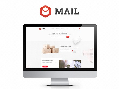 Mail Project mail ui clean simple white red services parcel letter