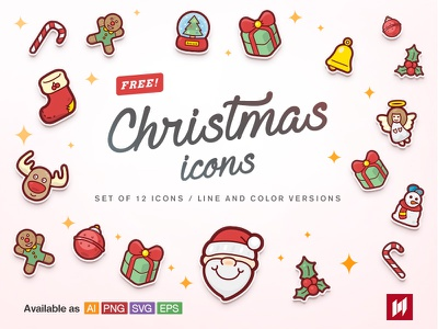 Free! Christmas icons freebie santa color cute pink winter xmas festival vector icons christmas free