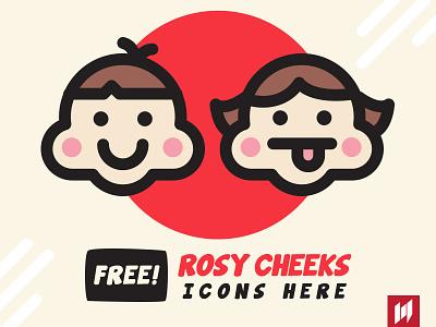 FREE! Rosy Cheeks icons face red smile emoticon emoji freebie free icons cheek rosy