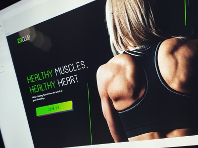 [WIP] 23 Club Project ux ui design concept dark green muscle energy mobile web fitness gym