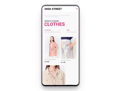 High street ux ui branding layout design cloth mobile ui mobile app shopping fashion