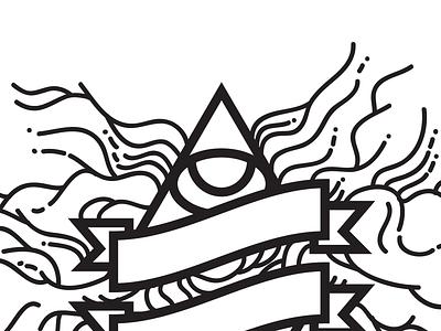 Strange Tomorrow illustration triangle illuminati black and white lines