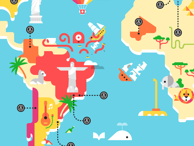 Monocle Map monocle map elephant octopus ship lion whale submarine north america liberty jesus