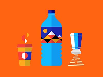 Coffee, water, less salt coffee water bottle salt shaker illustration mountain granule steam