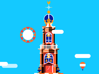 Westerkerk westertoren amsterdam westerkerk building city illustration xxx