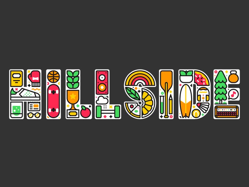 Hillside illustration typography geofilter snapchat