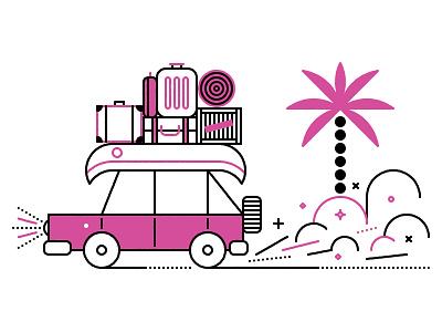 Natgeo Traveler Road Trip  luggage travel geographic national natgeo illustration editorial car
