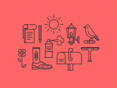 some icons icon bird sun notebook pencil mailbox flower can spray paint squeegee coach light wingtip shoe